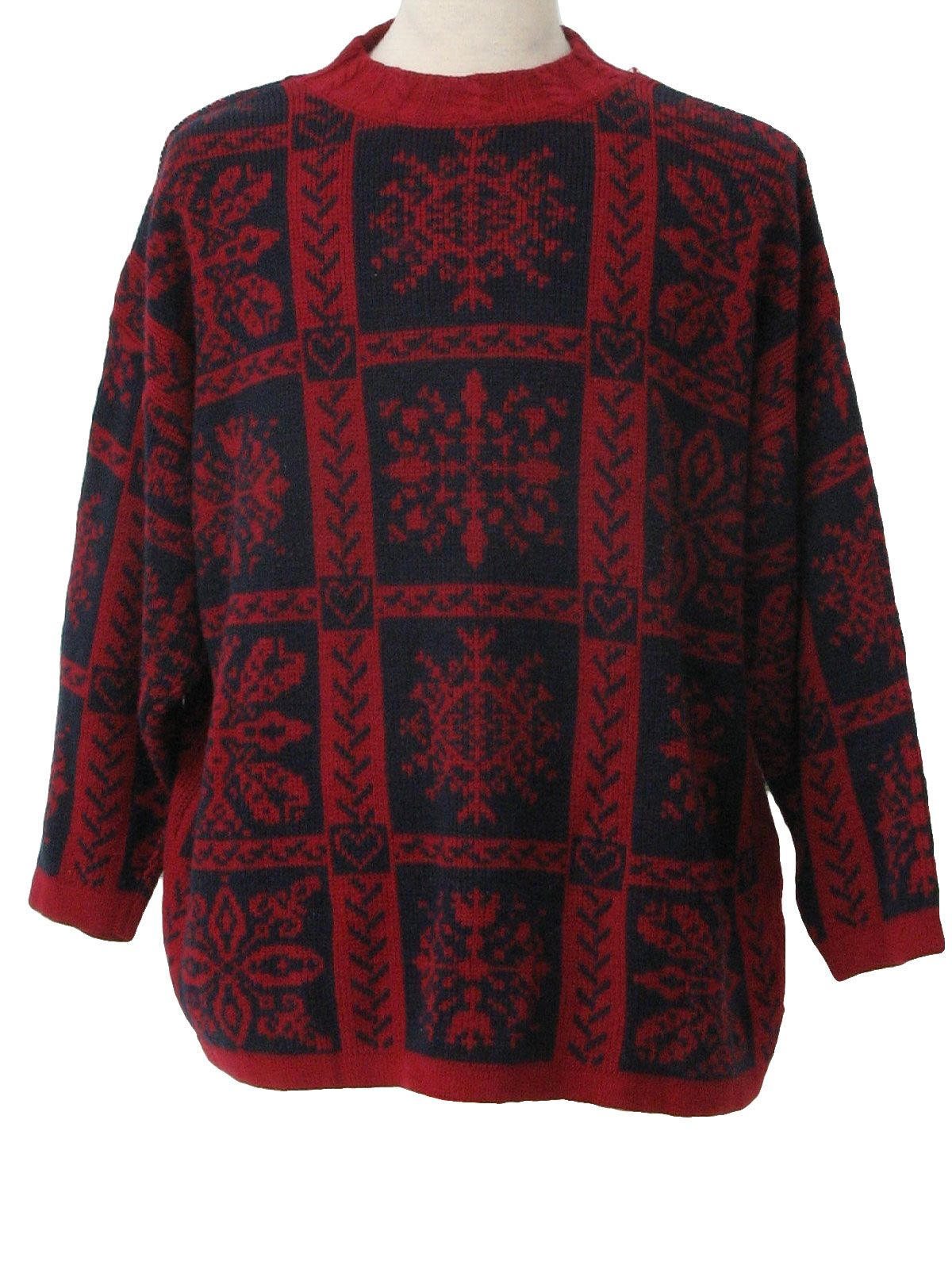 80s -Stefano- Womens blood red and navy blue snowflake design ...