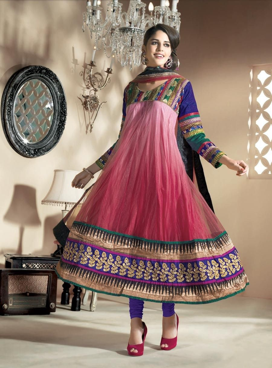 Marvelous deep pink u navy blue salwar kameez shop now