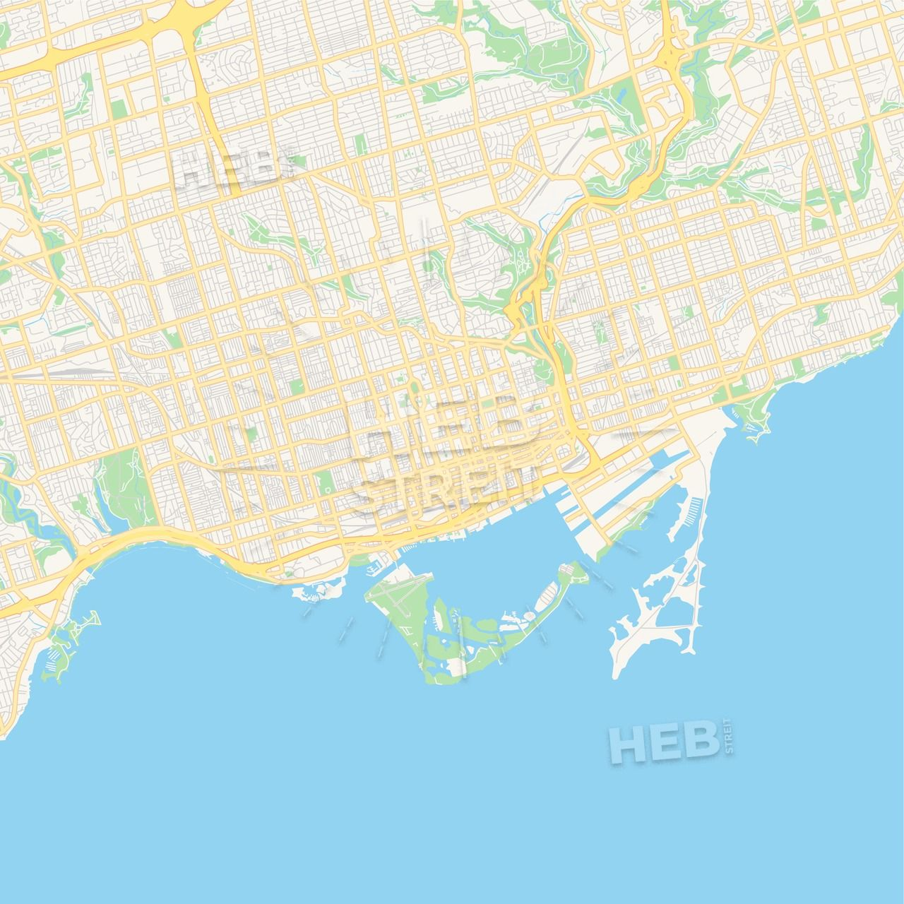 Empty vector map of Toronto, Ontario, Canada | Streit