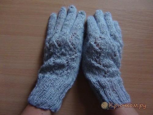 Ажурные перчатки спицами (с изображениями) | Перчатки ...