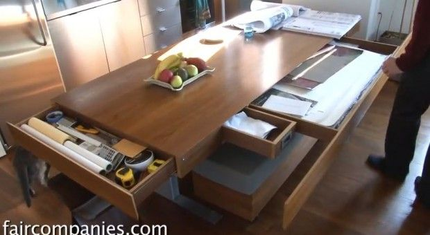 This Kitchen Table, Where Much Work Is Conducted, Is Height Adjustable Via  An Electronic Control. Raising It Up Would Make It Like A Counter Height  Kitchen ...