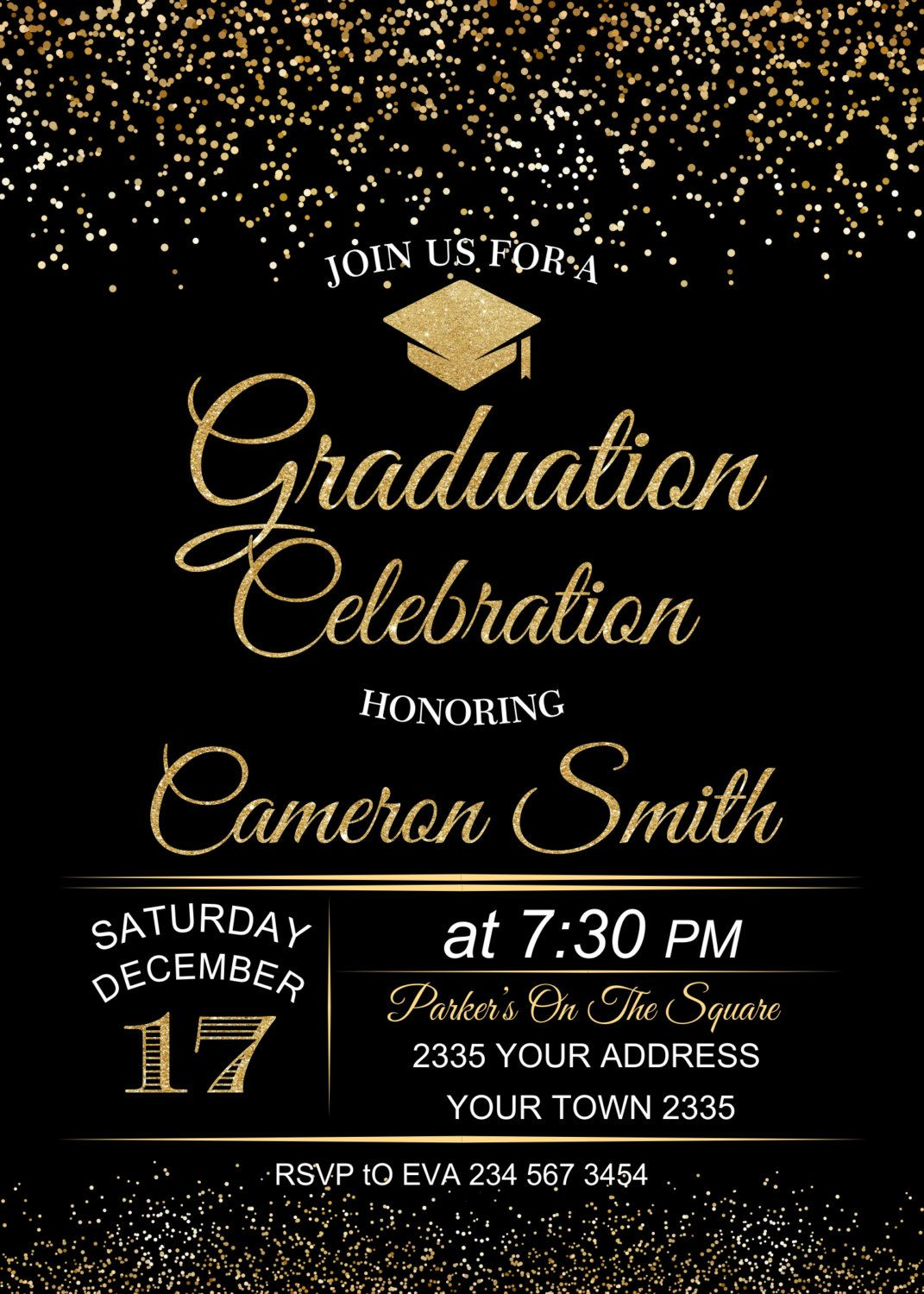 Graduation Celebration Invitation. Black background Graduation | Etsy | Graduation  invitations college, Graduation invitation cards, Graduation party  invitations