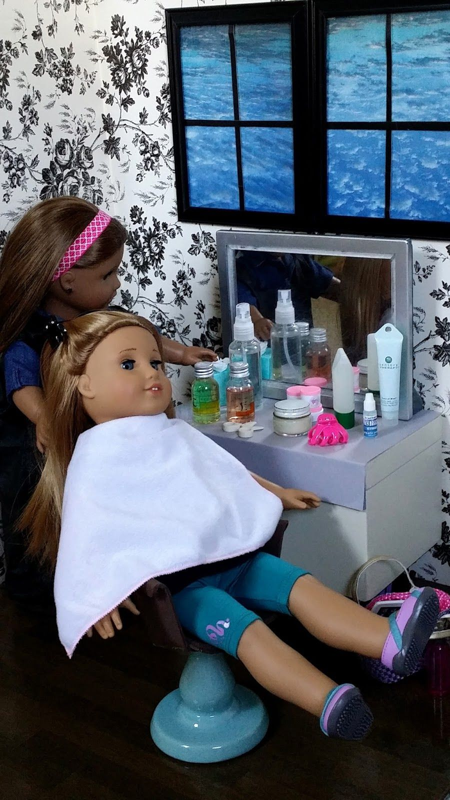 American Girl Doll Crafts And Fun How To Set Up Make A Doll Hair Salon Doll Clothes American Girl American Girl Doll Diy American Girl Doll Crafts