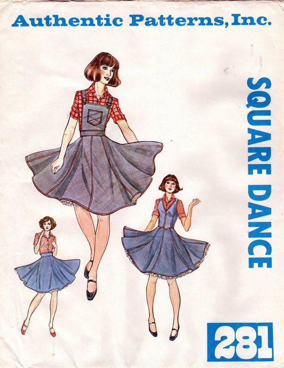 Square Dance Pattern Skirt Bib Authentic Patterns 281 Ladies Western ...