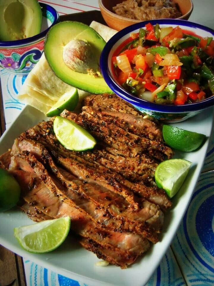Steak and grilled pico de gallo