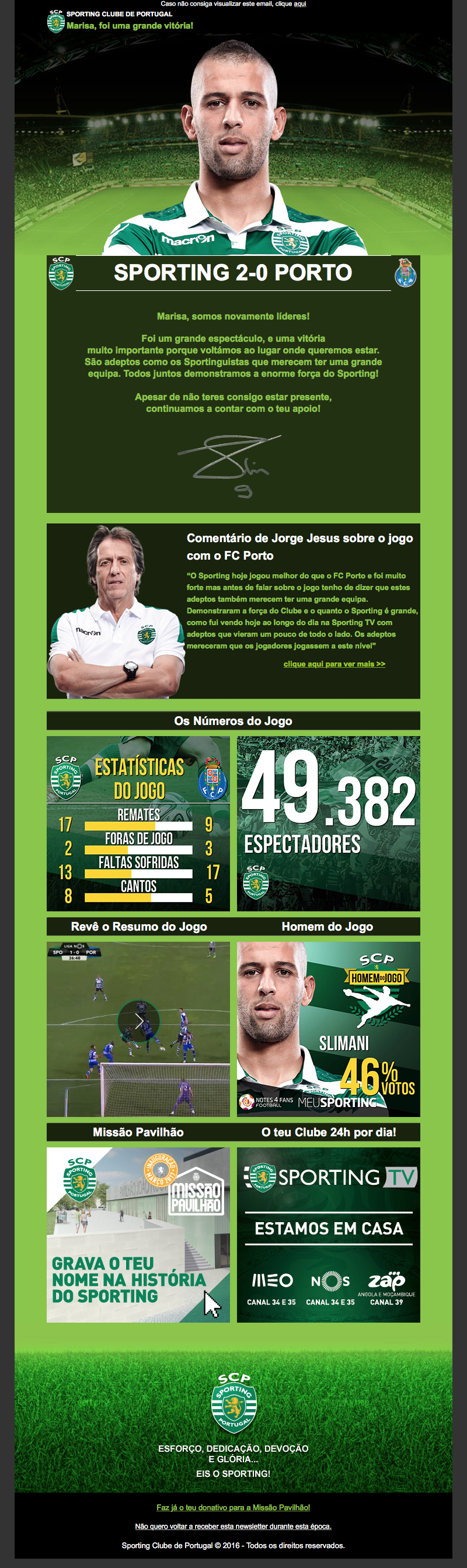 Sporting Clube Portugal Newsletter Design And It Includes My Favorite Player Slimani Newsletter Design Website Design Interactive