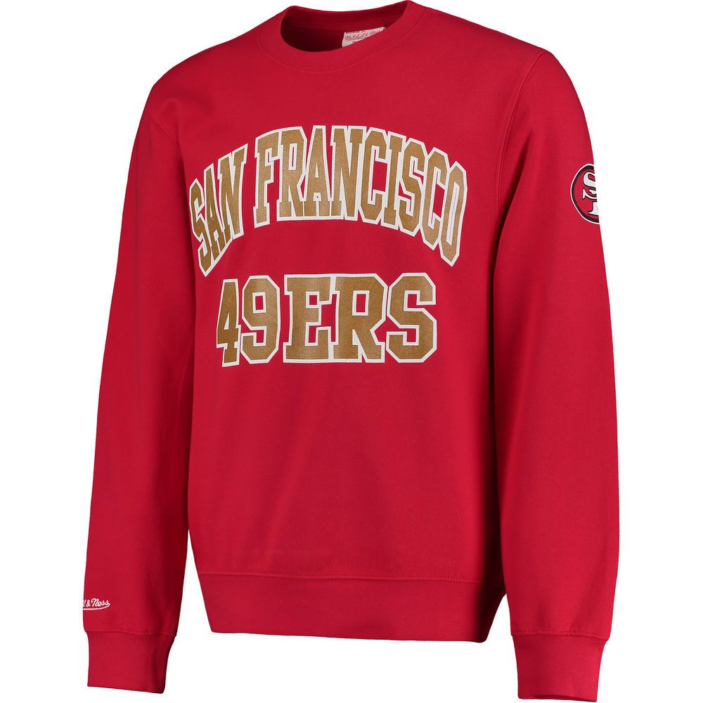 03539a1739f86 Men's Mitchell & Ness Red San Francisco 49ers Start of the Season Fleece  Sweatshirt