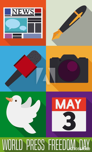 Flat Journalist S Icons To Commemorate World Press Freedom Day Freedom Day World Press Freedom Images