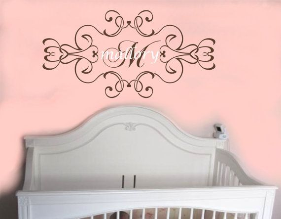 Shabby Chic Baby Girl Name Wall Decal Monogram by AllOnTheWall $29.00  sc 1 st  Pinterest & Shabby Chic Baby Girl Name Wall Decal Monogram by AllOnTheWall ...