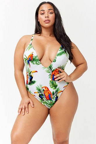 2b8172ba72605 Plus Size Bird   Leaf Print One-Piece Swimsuit