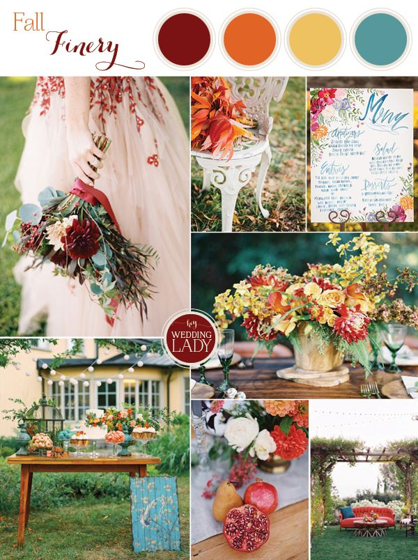 bold and colorful fall wedding in burgundy orange and teal - Fall Colors For A Wedding