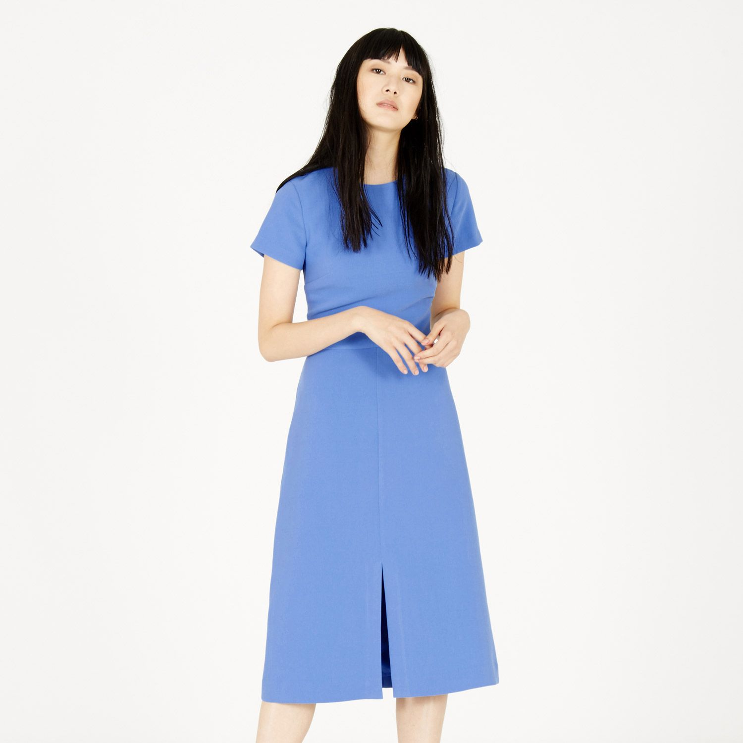 Warehouse, SPLIT FRONT MIDI DRESS Bright Blue 1