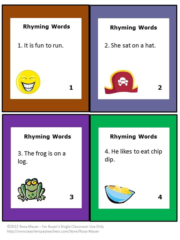 Worksheets Rhyming Sentence rhyming words task cards the two student and cards
