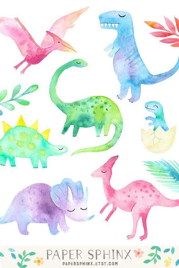 Clipart de dinosaure aquarelle | Dinosaure girly Clip Art - dinosaure Birthday Party - filles dinosaures - T Rex, ptérodactyle - numérique PNG fichiers #dinosaurillustration