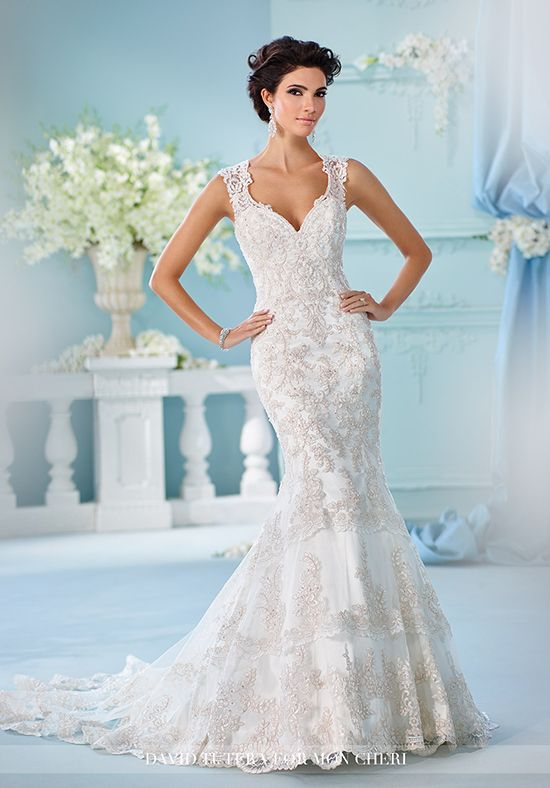Fit and flare cage wedding dress with sweetheart neckline and hand ...