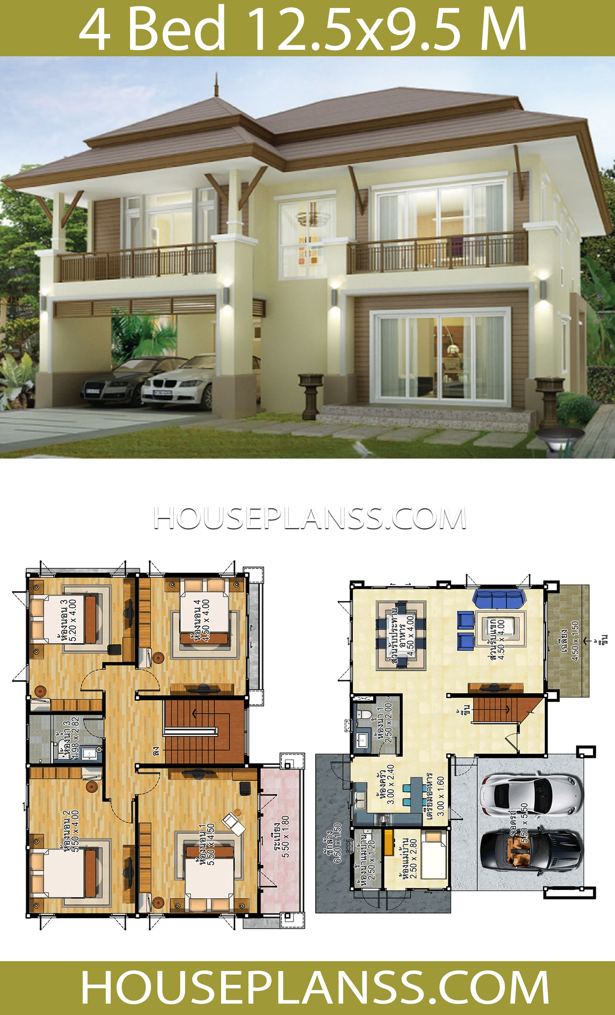 House Design Idea 12 5x9 5 With 4 Bedrooms House Plans 3d In 2020 Modern House Design Home Building Design Model House Plan