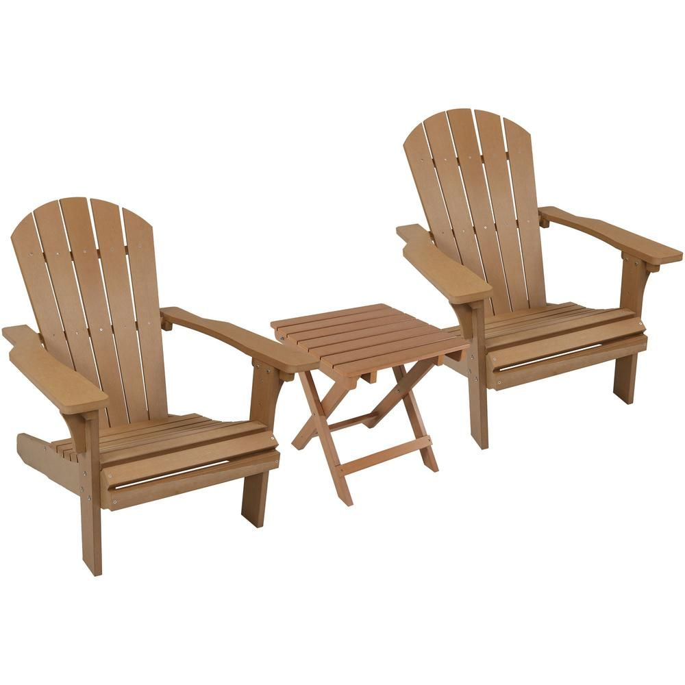 Sunnydaze Decor All Weather Brown Plastic Patio Adirondack Chair With Side Table Set Of 2 Wood Adirondack Chairs Plastic Adirondack Chairs Adirondack Chairs