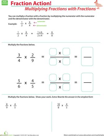 Multiplying Fractions With Fractions Worksheet Education Com Multiplying Fractions Fractions Fractions Worksheets