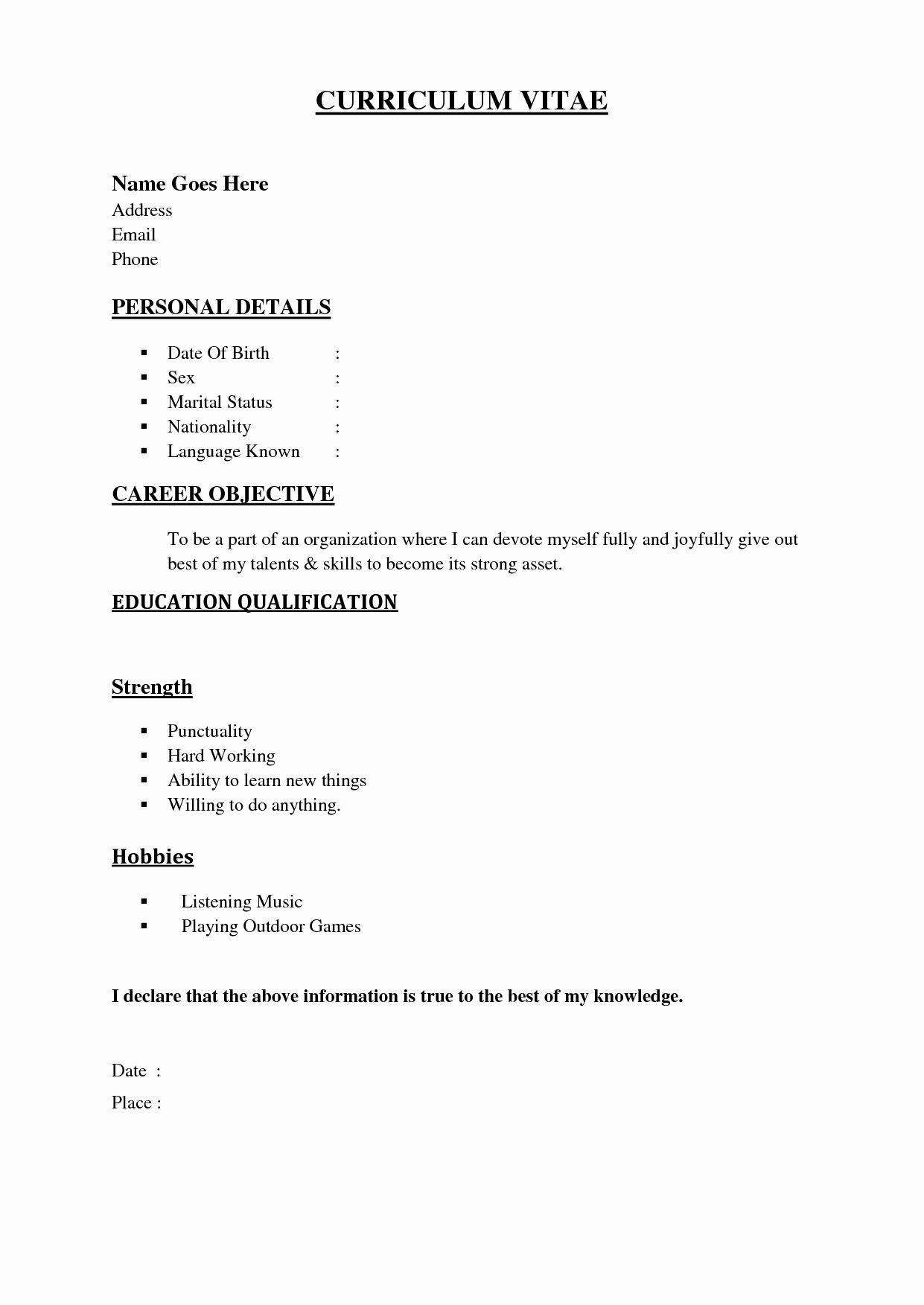 Simple Resume Examples For Jobs Elegant Resume Resume In 2020 Basic Resume Basic Resume Format Simple Resume Sample