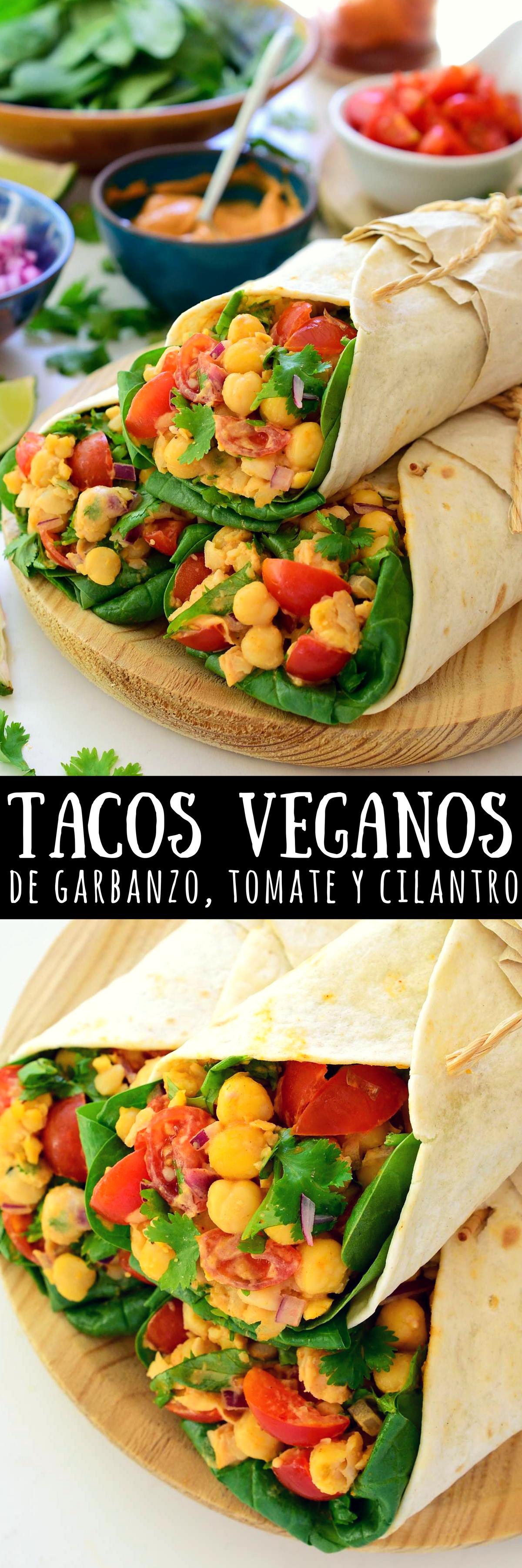 Tacos Veganos De Garbanzos Receta Tacos Veganos Comida Vegana Recetas Vegetarianas