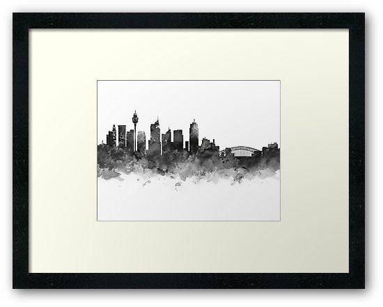 sydney sydney skyline cityscape landscape art framed print