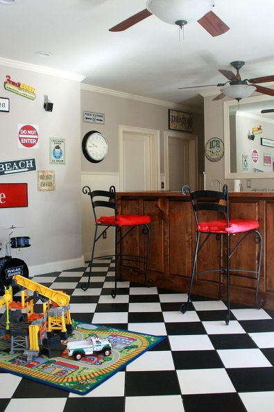game room play room, home decor, Black and White checkered floor bar counter