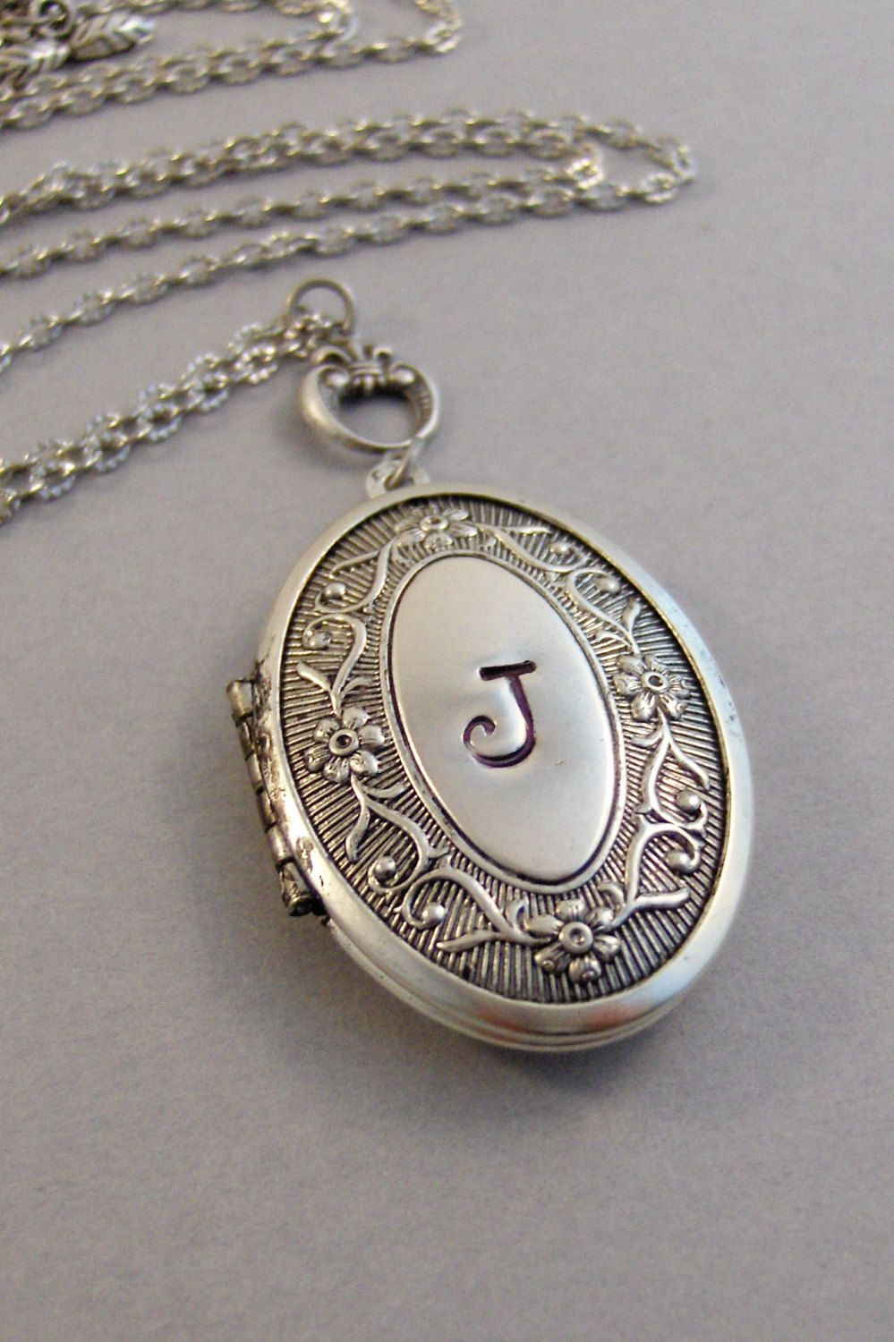 shape heart locket sterling monogram necklace vintage memorystation lockets