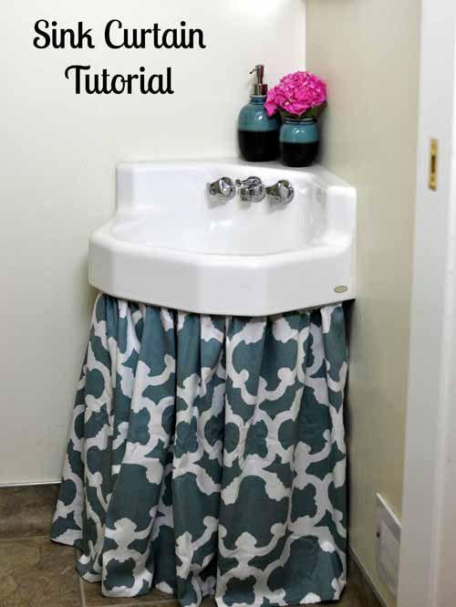 How To Make A Sink Curtain Skirt Easy Diy Tutorial Bumblebee Linens Diy Curtains Bathroom Sink Skirt Sink Skirt