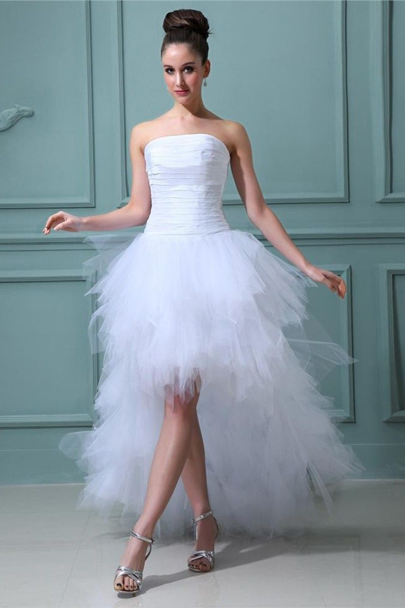 White Tulle Asymmetrical Strapless Wedding Dress - | Wedding Attire ...