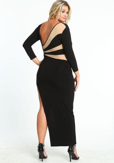 Hourglass Mesh Maxi Dress Blacktaupe Large Dress Dresses