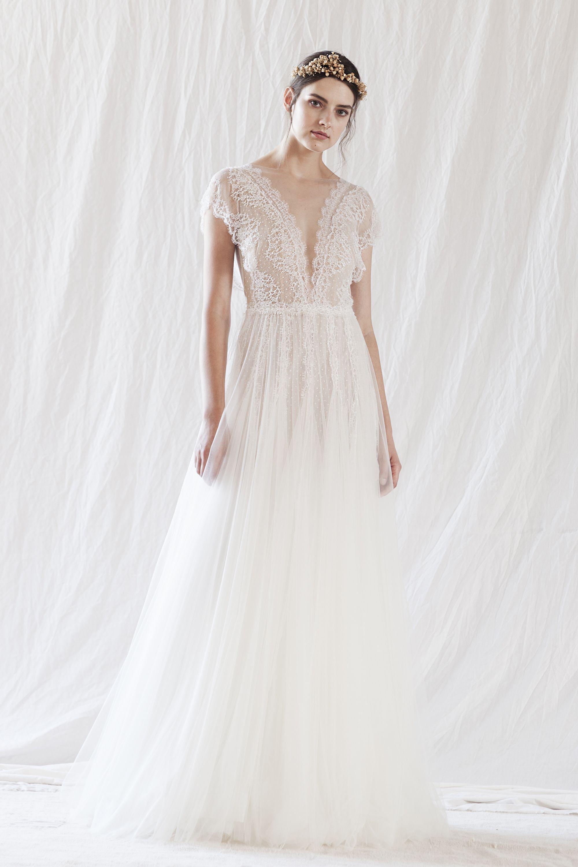 Automan Lace Wedding Dresses Boho Country V-Neck Bohemian Bridal Dress Gowns