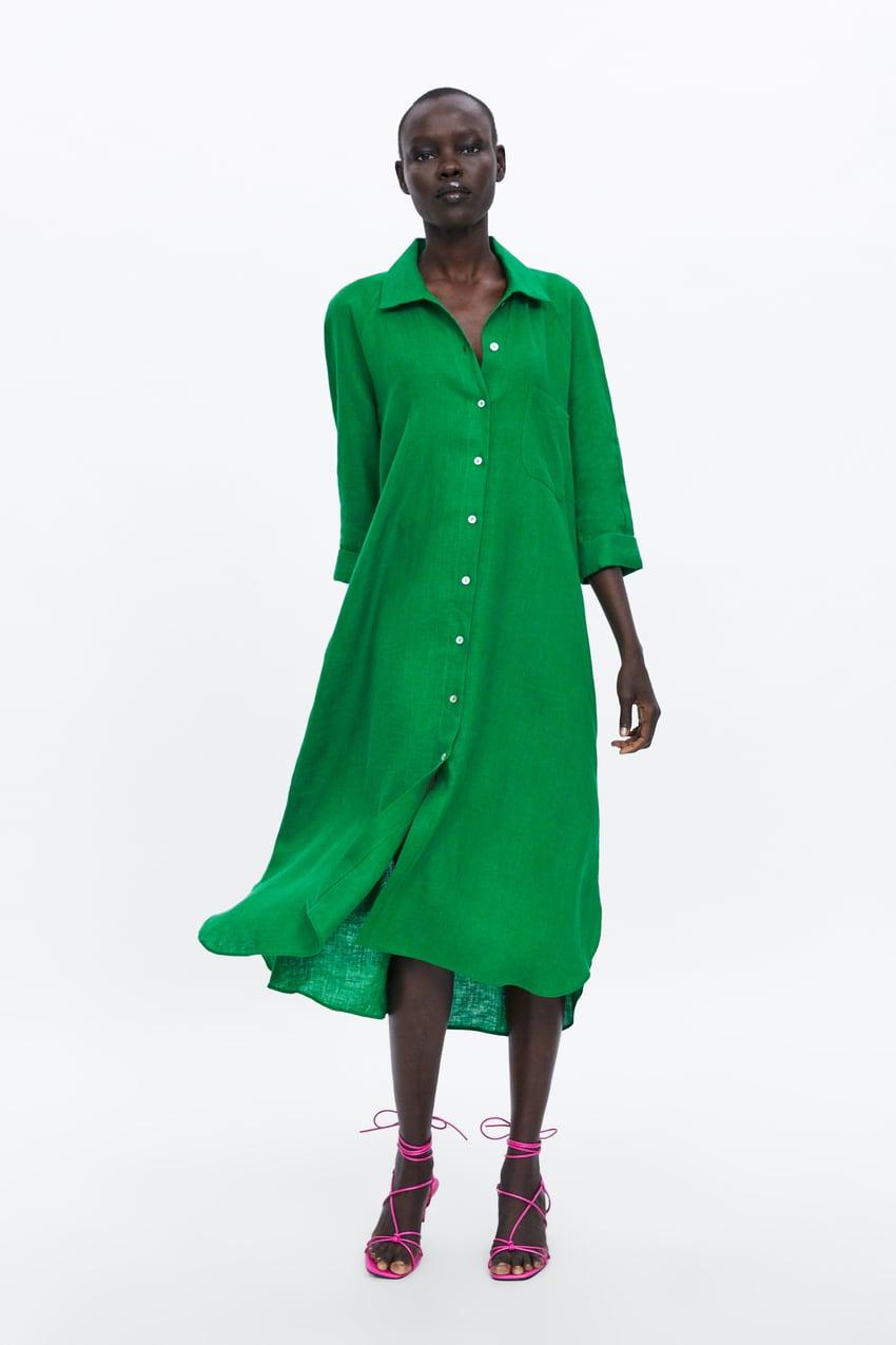linen shirt dress zara