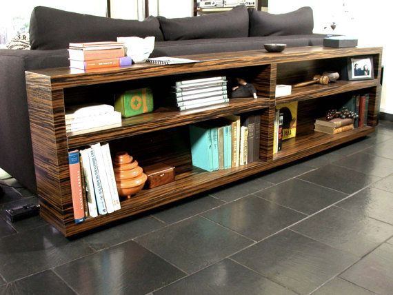 Bookcase Modern Home Decor Office Media Console Mid Century Ebony Quartered Bookshelf Entertainment Cabinet Storage