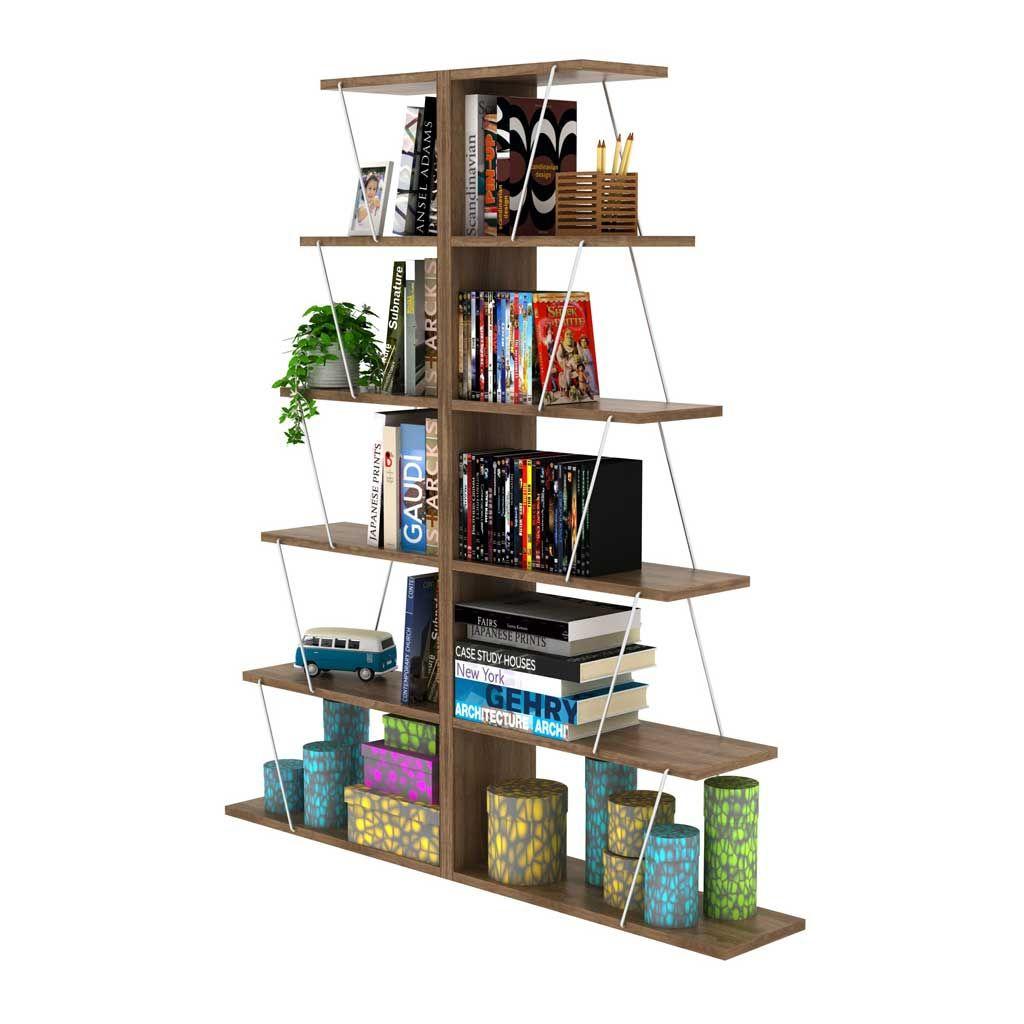 Libreria Tars By Rafevi Noce-Cromo L65xH146xP22 cm RF160402