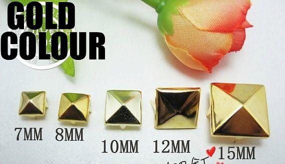 250 bulk lot  7mm gold 4 claw pyramid rivets for by fantasyforU, $4.90