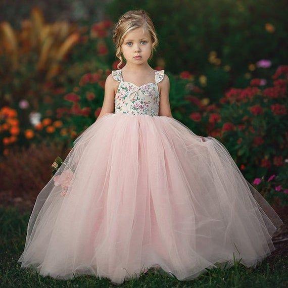 Tutu formal party dress bridesmaid baby princess girl flower kid wedding dresses