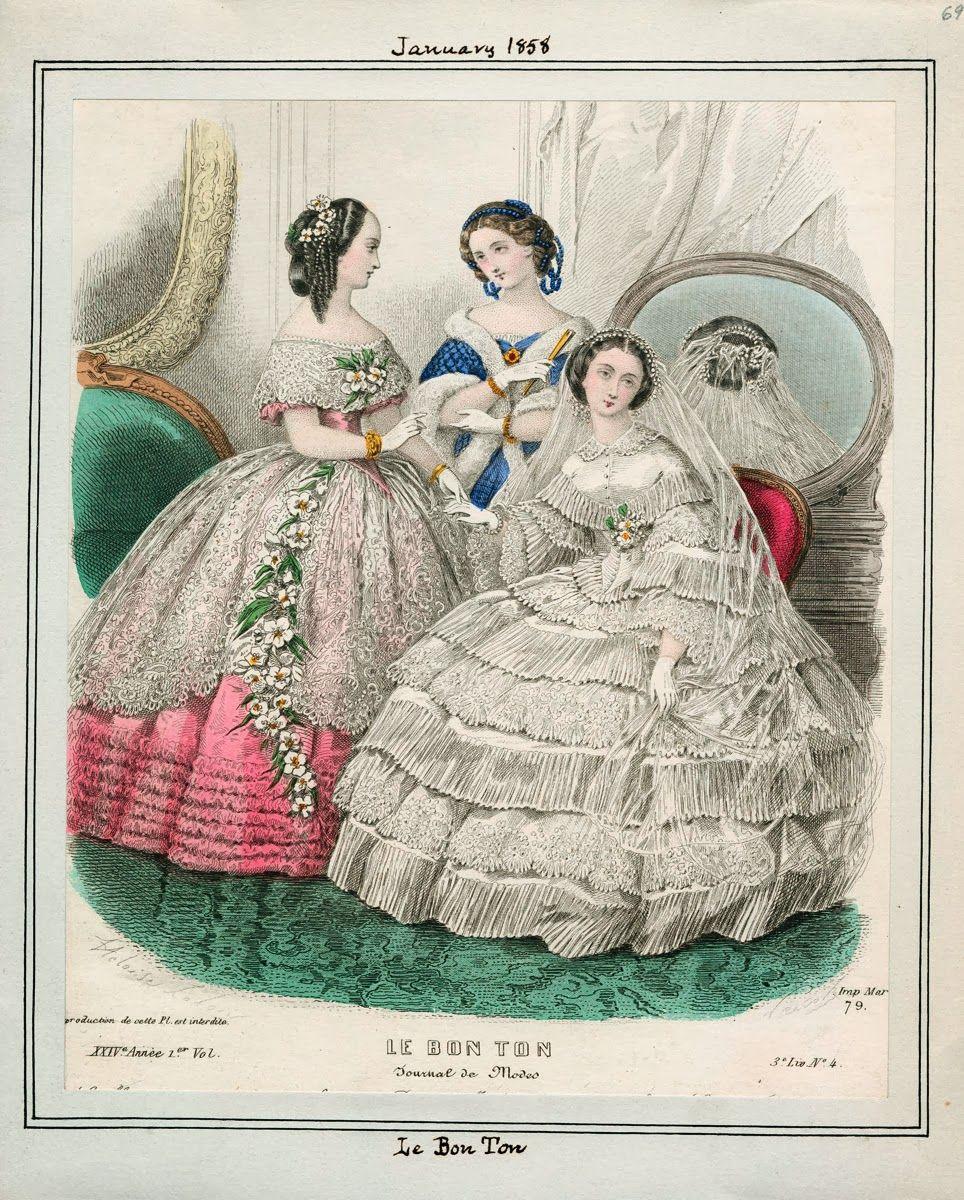 In The Swan S Shadow Le Bon Ton January 1858 Victorian Fashion Fashion Plates Historical Fashion