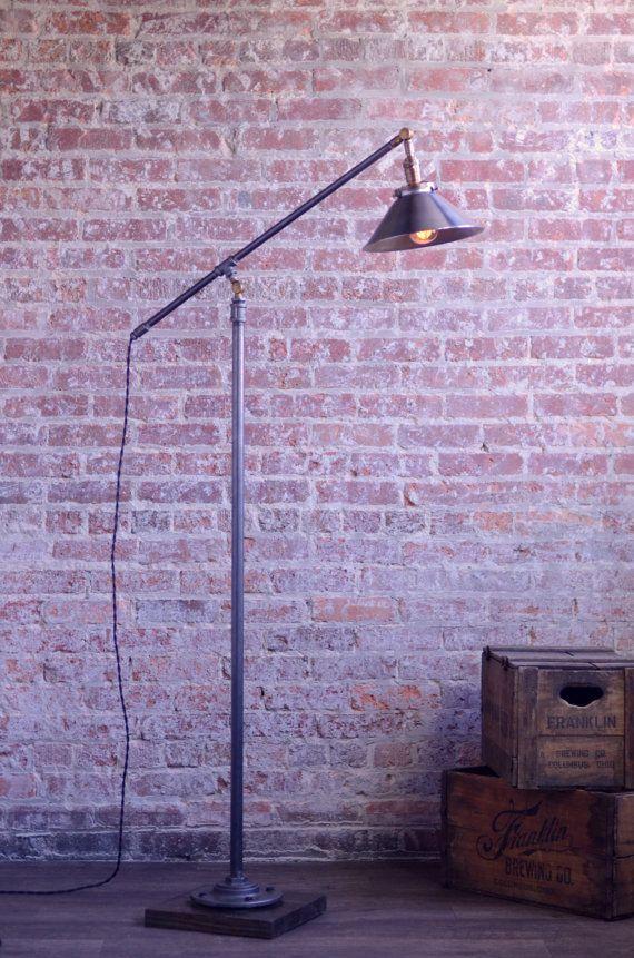 Standing Reading Lamp Industrial Floor Lamp By Newwineoldbottles
