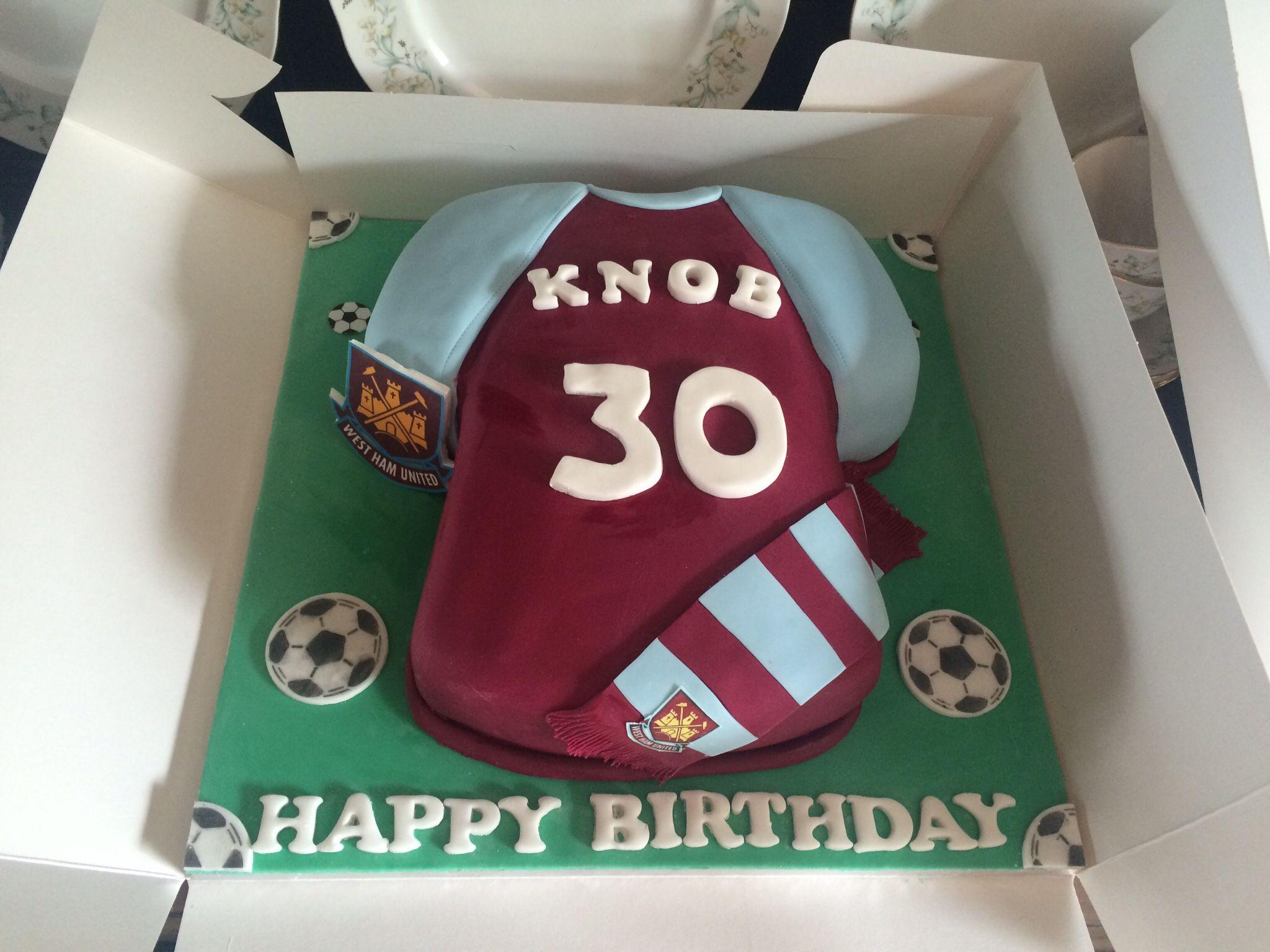 West Ham Football Shirt Cake Hammers Th Birthday Cake Bobbie - Birthday cake shirt