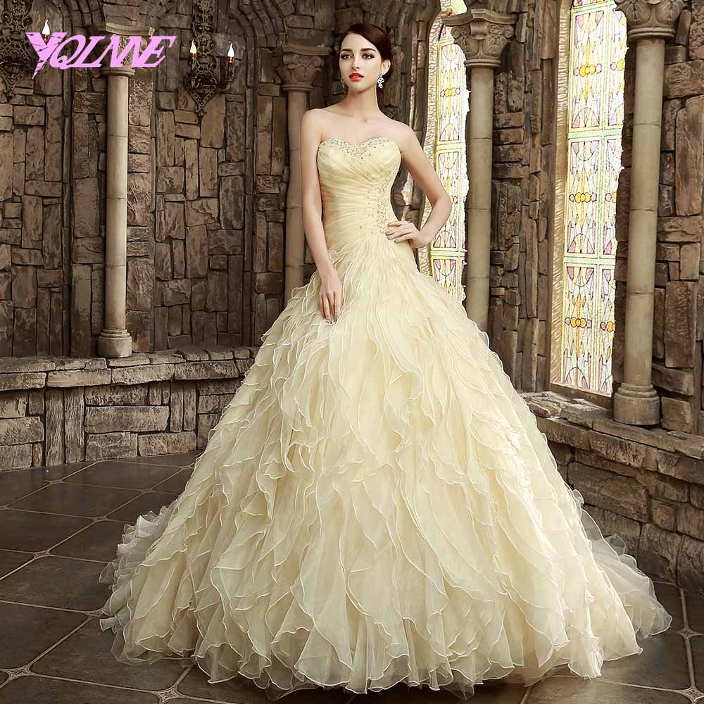 Lace wedding dress champagne  Click to Buy ucuc YQLNNE Champagne Wedding Dresses Sweetheart Organza