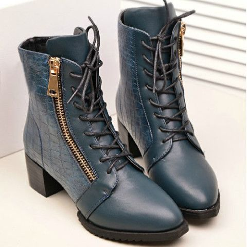 Roman Style Lace-up Zip Pointed-toe Boots