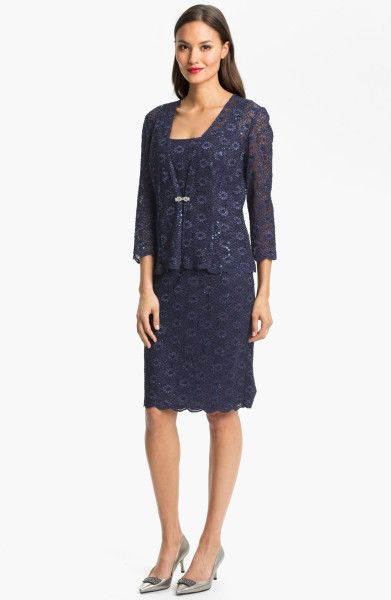 Alex Evenings Embellished Lace Dress Jacket Petite in Blue (navy ...