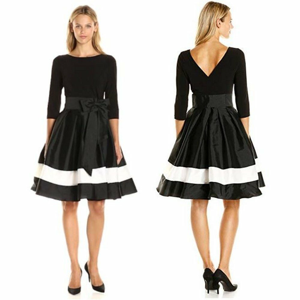 New Adrianna Papell Black Velour//Taffeta Bow Front Fit Flare Dress Party Sz 4P