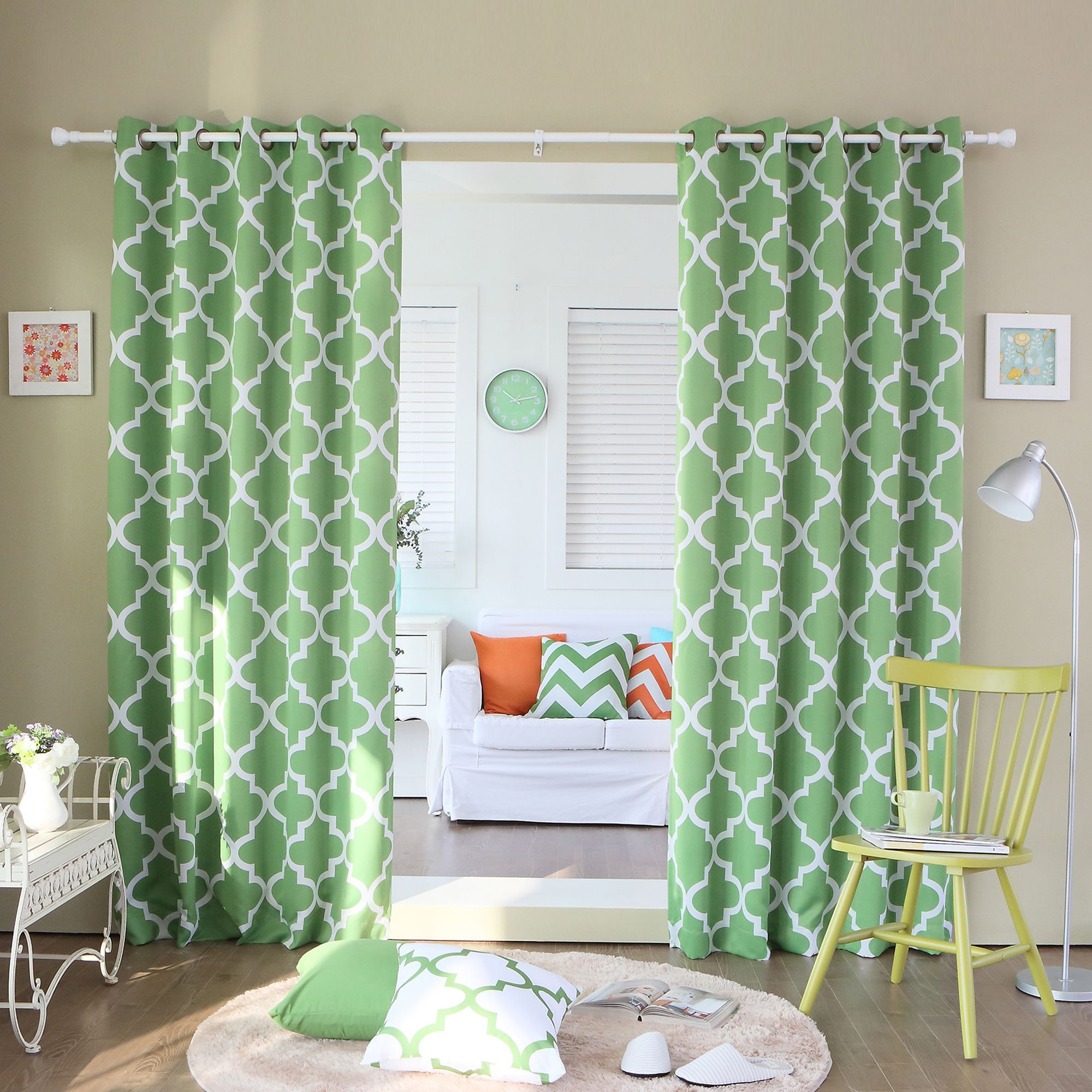 94 Inch Blackout Curtains Aurora Home Moroccan Tile 96 Inch Window Curtain Panel Pair Green