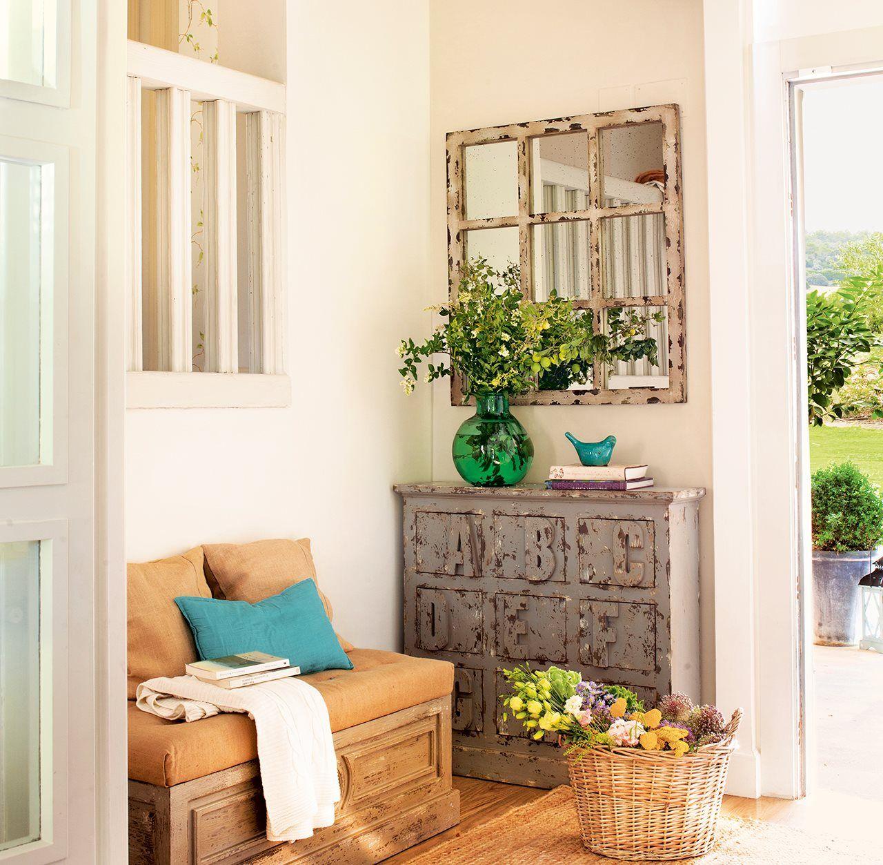 Recibidor Con Muebles Decapados Peque O Recibidor Con Banco Y  # Muebles Hall Entrada Casa