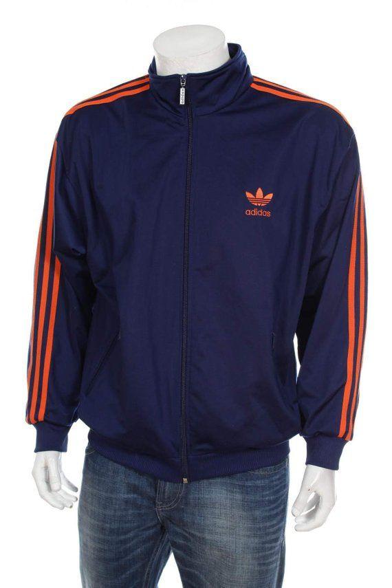 7ed56ca78fa1 Adidas Track Top jacket TREFOIL Retro Sports Throwback Blue Striped  Streetwear Hipster Vintage Blue Orange Size L