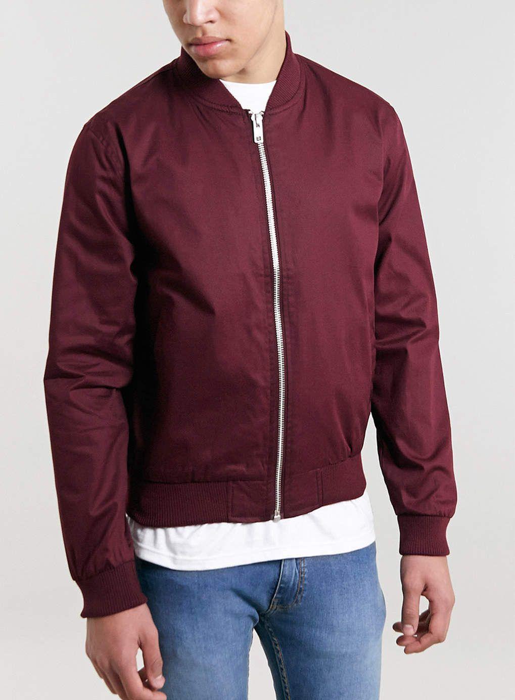 BURGUNDY BOMBER JACKET - Casual Jackets | Burgundy bomber jacket
