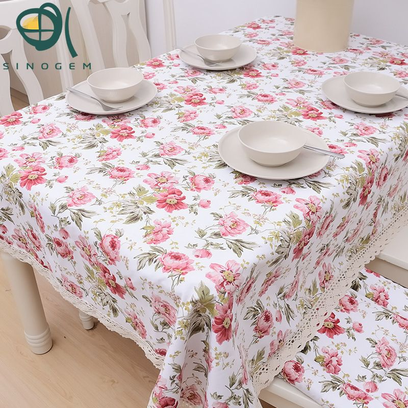 Beautiful Pink Roses Romantic Spring The Hotel Tablecloths Printed Cotton Lace  Tablecloth Manufacturer To Customize #Affiliate