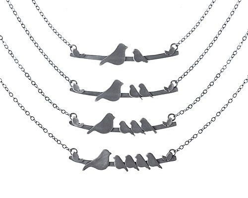 mother nestling birds necklace  cute for mothers day gift!