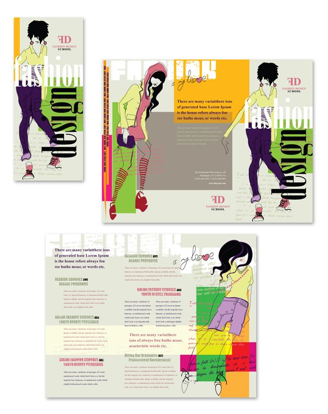 Fashion Design School Tri Fold Brochure Template    www - school brochure template